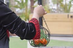 Main d'une femme dans un hoodie Arabe avec un panier des oranges Photographie stock libre de droits