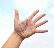 Main dans le ciel Images libres de droits