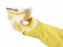 Main dans le gant en caoutchouc 09 Image libre de droits