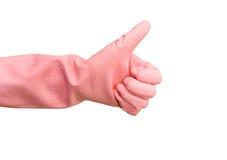Main dans le gant en caoutchouc Image libre de droits