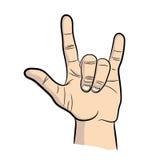 Main dans le signe de petit pain de la roche n, geste graphisme Image stock