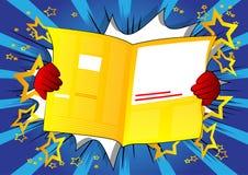 Main de bande dessinée tenant un journal sur le fond de bande dessinée illustration de vecteur