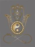 Main de Bouddha, symbole de Ying Yang, fleur de Lotus, signe d'infini, paix et symbole d'amour Images libres de droits