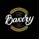 Main de boulangerie écrite marquant avec des lettres le logo, label, insigne, emblème Photographie stock