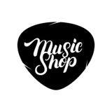 Main de boutique de musique écrite marquant avec des lettres le logo, label, insigne, emblème illustration stock