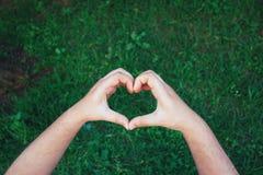 Main de coeur contre l'herbe Image stock