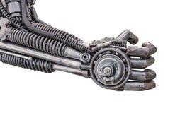 Main de cyber métallique ou robot fait à partir des rochets mécaniques Image libre de droits