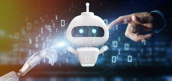 Main de cyborg tenant Chatbot avec le rendu du code binaire 3d images libres de droits
