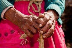 Main de dame âgée Images libres de droits