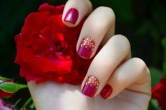 Main de femme avec la manucure de rose d'étincelle Photographie stock libre de droits