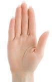 Main de femme avec le geste d'arrêt ou de voix d'isolement   Photo stock