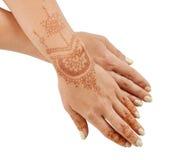 Main de femme avec le mehendi de henné photo stock