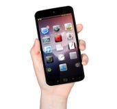 Main de femme avec le rendu du téléphone portable 3D Photos stock