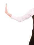 Main de femme d'affaires éloignant l'espace vide de copie Images stock