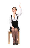 main de femme d'affaires s'étendant vers le haut des jeunes photographie stock libre de droits