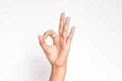 Main de femme dans le signe correct Images libres de droits