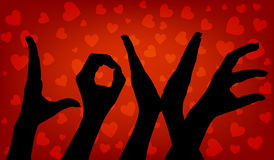 Main de femme de silhouette Amour de mot Photo stock