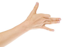 Main de femme faisant des gestes comme la tête de chien images stock