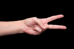 Main de femme montrant deux doigts Photo libre de droits