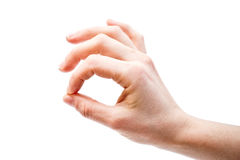 Main de femme montrant le geste CORRECT, d'isolement Photographie stock
