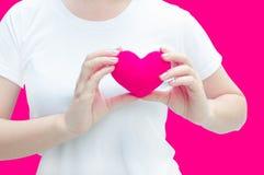 Main de femme tenant la peluche un coeur rouge à la gauche son coffre sur le fond rose Photo libre de droits