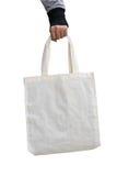 Main de femme tenant le sac blanc de tissu de coton dessus, concept du monde d'économies Photographie stock libre de droits