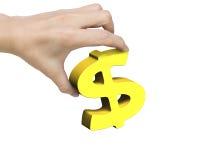 Main de femme tenant le symbole dollar d'or Photos libres de droits