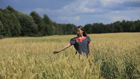 Main de fille dans le domaine de blé banque de vidéos