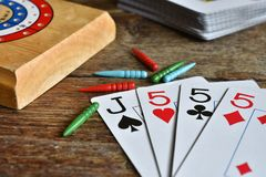 Main de gain de cribbage Image stock