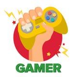 Main de Gamer avec Joy Stick Vector Concept de jeu Console de jeu vidéo, contrôleur Symbol, Gamepad Bande dessinée plate d'isolem Photographie stock libre de droits