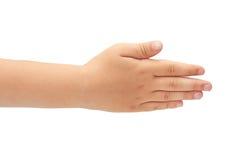 Main de geste de main d'enfants de la salutation D'isolement sur le fond blanc Images libres de droits