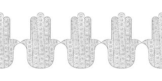 Main de Hamsa Illustration noire et blanche pour la page de coloration Photographie stock