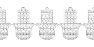 Main de Hamsa Illustration noire et blanche pour la page de coloration Amulette décorative pour la bonne chance et la prospérité Images stock