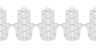 Main de Hamsa Illustration noire et blanche pour la page de coloration Amulette décorative pour la bonne chance et la prospérité Photo stock