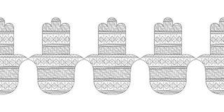 Main de Hamsa Illustration noire et blanche pour la page de coloration Amulette décorative pour la bonne chance et la prospérité Image libre de droits