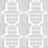 Main de Hamsa Modèle sans couture noir et blanc pour la coloration Photos libres de droits