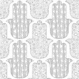 Main de Hamsa Modèle sans couture noir et blanc pour la coloration Photographie stock