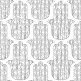 Main de Hamsa Modèle sans couture noir et blanc pour la coloration Image libre de droits