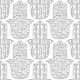 Main de Hamsa Modèle sans couture noir et blanc pour la coloration Image stock