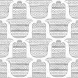 Main de Hamsa Modèle sans couture noir et blanc pour la page de coloration Photo libre de droits