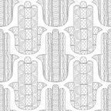 Main de Hamsa Modèle sans couture noir et blanc pour la page de coloration Images libres de droits