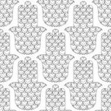 Main de Hamsa Modèle sans couture noir et blanc pour la page de coloration Amulette décorative pour la bonne chance et la prospér Photo stock