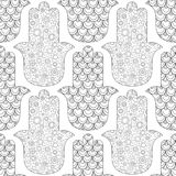 Main de Hamsa Modèle sans couture noir et blanc pour la page de coloration Amulette décorative pour la bonne chance et la prospér Photographie stock