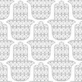 Main de Hamsa Modèle sans couture noir et blanc pour la page de coloration Amulette décorative pour la bonne chance et la prospér Images libres de droits