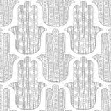 Main de Hamsa Modèle sans couture noir et blanc pour la page de coloration Amulette décorative pour la bonne chance et la prospér Images stock