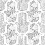 Main de Hamsa Modèle sans couture noir et blanc pour la page de coloration Amulette décorative pour la bonne chance et la prospér Photographie stock libre de droits