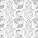 Main de Hamsa Modèle sans couture noir et blanc pour la page de coloration Amulette décorative pour la bonne chance et la prospér Photos libres de droits
