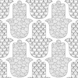Main de Hamsa Modèle sans couture noir et blanc pour la page de coloration Amulette décorative pour la bonne chance et la prospér Image stock