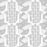 Main de Hamsa Modèle sans couture noir et blanc pour la page de coloration Amulette décorative pour la bonne chance et la prospér Photo libre de droits
