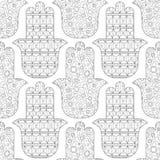 Main de Hamsa Modèle sans couture noir et blanc pour la page de coloration Amulette décorative pour la bonne chance et la prospér Photos stock